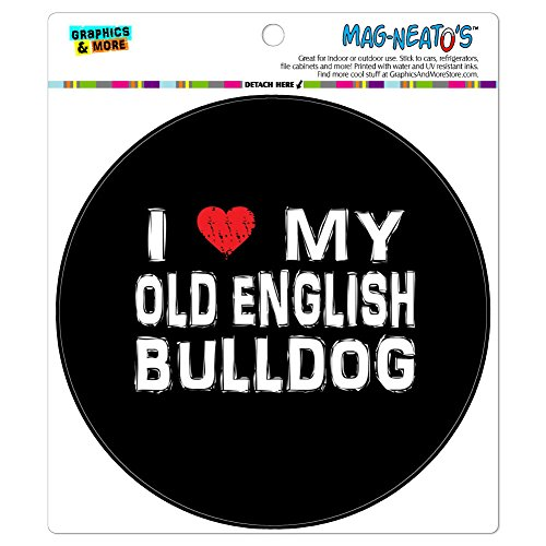 Graphics and More I Love My Old English Bulldog Stylish Automotive Car Refrigerator Locker Vinyl Magnet ()