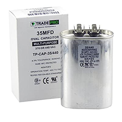 35 mfd Capacitor, Industrial Grade Replacement for Central Air-Conditioners, Heat Pumps, Condenser Fan Motors, and Compressors. Oval Multi-Purpose 370/440 Volt - by Trade Pro