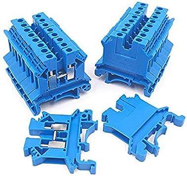 24-12 Awg Paquet de 50 Clamp /à Vis 600V 20A WOVELOT Uslkg2.5N Bornier de Connexion de Circuit /à la Terre Mont/é sur Rail Din