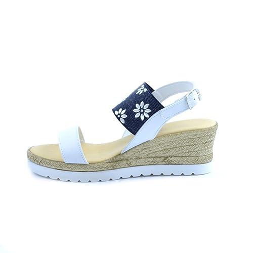 Scarpe sandali Ciabattino del borgo donna pelle bianco blu fiori Made In Italy