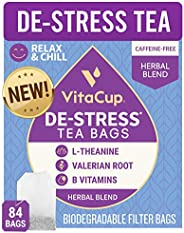 VitaCup De-Stress Herbal Tea Bags | Relax & Chill | Chamomile, L-Theanine, Valerian Root & Vitamins B1
