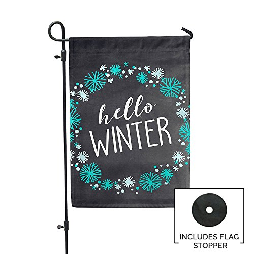 Second East Hello Winter Garden Flag Outdoor Patio Seasonal Holiday Fabric 12'' X 18'' by Second East