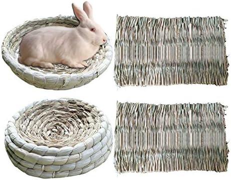 S-Mechanic 2 Pack Bunny Corn Husk Beds2 Pack Grass Mats Woven Straw Mats Bedding Basket for Rabbits Guinea Pig Chinchilla Hamster