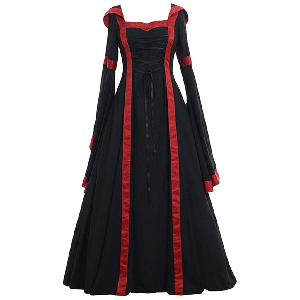 Tantisy ♣↭♣ Women's Medieval Dress Long Renaissance Costume Gown Trumpet Sleeve Lace Up Medieval Cosplay Dress S-5XL Black