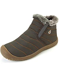 VILOCY Men's Winter Waterproof Warm Thick Fur Lined Snow Boot Slip on High Top Shoe