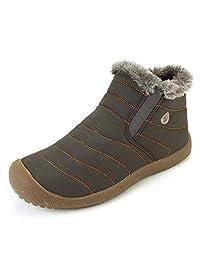 VILOCY Men's Winter Waterproof Warm Thick Fur Lined Snow Boot Slip on High Top Shoe
