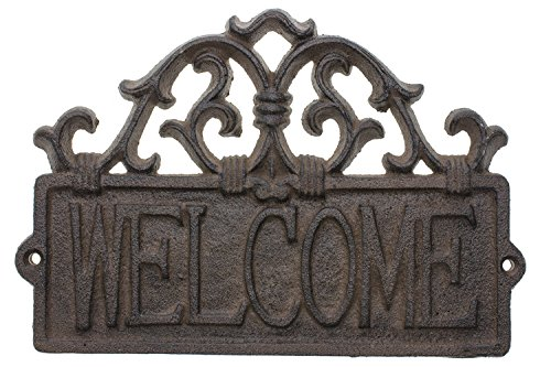 Comfify Welcome Sign for Door - Cast Iron Rustic Welcome Sign | Decorative Welcome Wall Plaque | Vintage Design | for Door, Entrance or Porch | Indoor or Outdoor Use | 9.25 X 6.25 (Rust Brown)