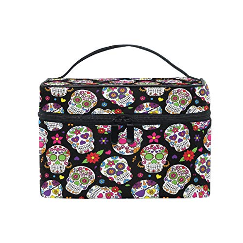 Toprint Large Makeup Bag Organizer Floral Flower Sugar Skull Cosmetic Case Bag Toiletry Storage Portable Zipper Pouch Travel Brush Bag for Women Lady
