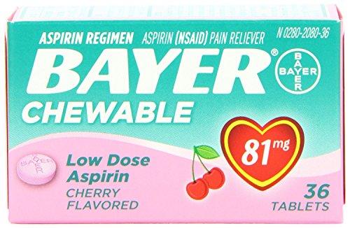 Bayer Chewable Low Dose Baby Aspirin Cherry, 3 Count (Aspirin Cherry)