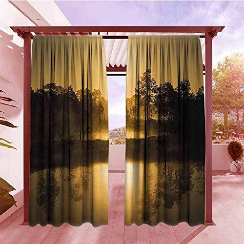 DGGO Outdoor Rod Pocket Curtains Nature Idyllic Sunrise