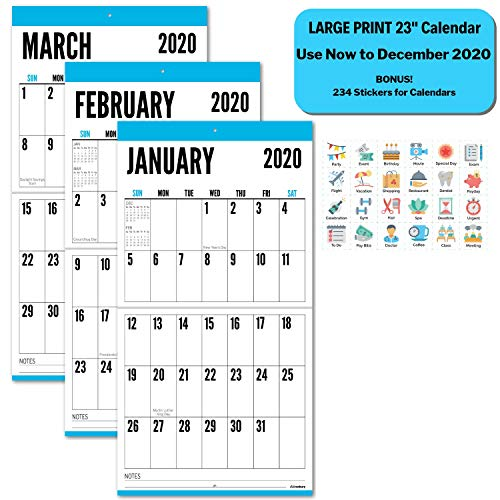 Big Grid 2020 Wall Calendar, 12x23 (Bright Blue) Use Now to December 2020, Glossy Magazine Paper, Jumbo Large Print 2020 Wall Calendar, Hanging Large Wall Calendar 2020, with Stickers for Calendars