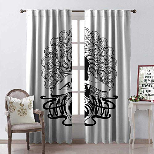 Hengshu Art Nouveau Room Darkening Wide Curtains Witch Crystal Ball Magic Fortune Themed Tattoo Inspired Mystic Pattern Decor Curtains by W84 x L108 Charcoal Grey White