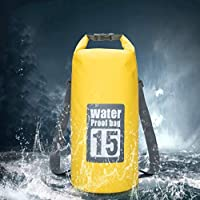 Conbo Waterproof Bag - Dry Bag Backpack Kayaking Camping 15L Roll Top Keeps Your Gear Dry While Rafting Fishing Boating at Beach and Yacht (Yellow)