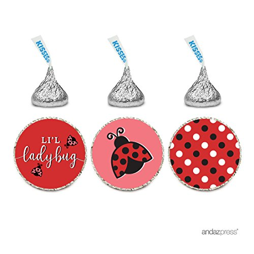 Andaz Press Chocolate Drop Labels Trio, Girl Baby Shower, Lil Ladybug, 216-Pack (Ladybug Baby Shower Favors)