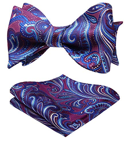 SetSense Men's Floral Jacquard Woven Self Bow Tie Set One Size Purple/Blue