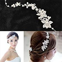 Interesting® Ladies Bridal Wedding Flower Delicate Pearls Beauty Crystal Chic Headband Hair Clip Comb Jewelry