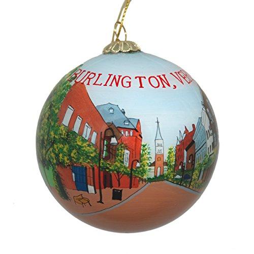 Hand Painted Glass Christmas Ornament - Burlington, Vermont