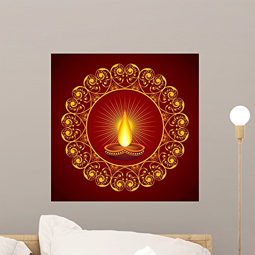 Creative Diwali Greeting Vector Wall Mural by Wallmonkeys Peel and Stick Graphic (18 in H x 18 in W) (Diwali Treat)