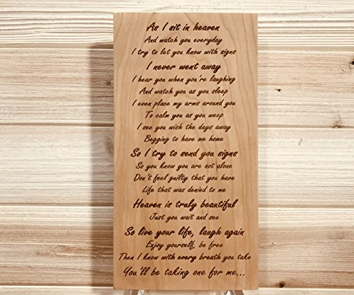 Laser 105 (As I Sit In Heaven Inspirational Poem Wall Plaque Laser Engraved Personalized Custom Sign 105 by SignsByAllSeasons)