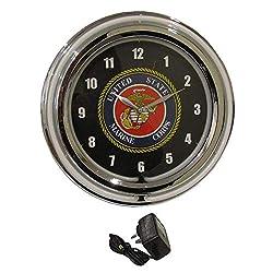 AES USMC United States Marine Corps Neon Wall Hanging Clock
