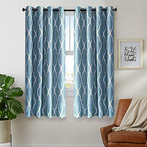 Blue Curtains 63 inch Long for Bedroom Home Linen Textured Living Room Darkening Window Curtain 2 Panels Grommet Top Drapery Set Dark on Flax