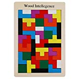 Highdas Intelligence Kids Wooden Toys, 40 Pcs Wooden Tetris Puzzle Game, Wooden Geometric Leaning Toys, Early Educational Blocks Toys for Children Toddlers