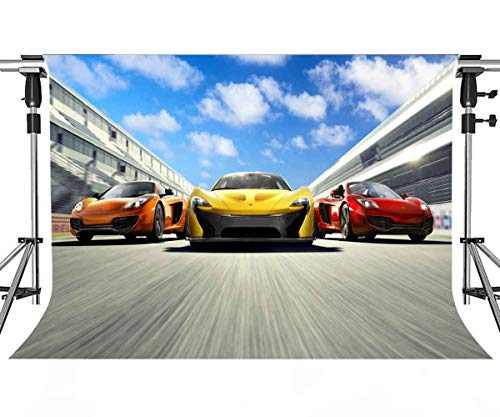 MEETS 7x5ft Race Track Backdrop Runway Various Color Racing Background Themed Party Photo Booth YouTube Backdrop HUIMT133