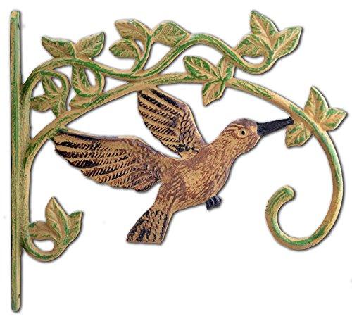 Cheap Cast Iron Plant Hanger Flower Basket Hook Antiqued Brown Flying Hummingbird 11.25″ Deep