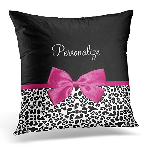 sunmoohat Throw Pillow Cover Black Bow Vivacious Pink Ribbon Leopard with Name Animal Decorative Pillow Case Home Decor Square 18 x 18 Inch Pillowcase ()