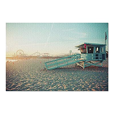 Los Angeles, California - Iconic Santa Monica Lifeguard Hut with Amusement Park in Back 9023066 (Premium 1000 Piece Jigsaw Puzzle for Adults, 20x30, Made in USA!): Toys & Games