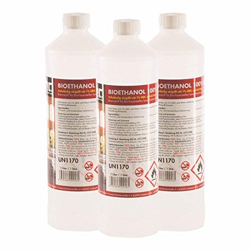 6 x 1 L Bio Ethanol Premium 100% für Kamin - versandkostenfrei - 1 L Flaschen für den sicheren Gebrauch zuhause