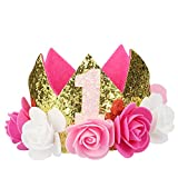 Hifot Baby 1st Birthday Crown, Girl Boy First Birthday Party Hat Photo Props, Prince Princess Flower Crown Tiara Headband