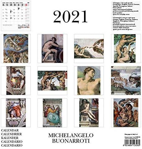 GM184 CALENDARIO DA PARETE 2021 MICHELANGELO 30X30 CM FINE PAPER IN ITALY