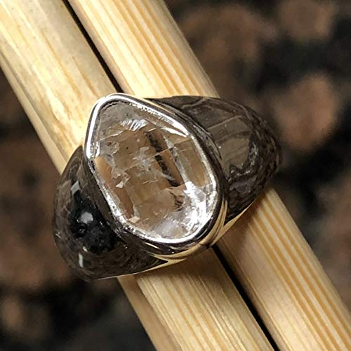 (Natural Herkimer Diamond 925 Solid Sterling Silver Cluster Healing Stone Unisex Ring sz 7.25)