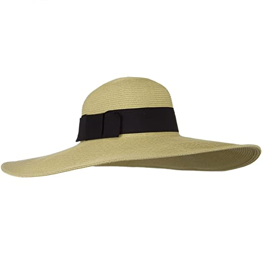 04bd21210 Jeanne Simmons UPF 50+ Black Ribbon Wide Flat Brim Hat - Tan at ...