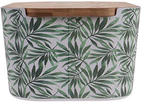Tropical Palm Leaf Bamboo Bread Bin Bread Crock with Lid as a Chopping Board Design 1