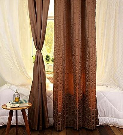 Turkish Bath Premium Jacquard Eyelet Door Curtains Set Of 2 120X210 Cm