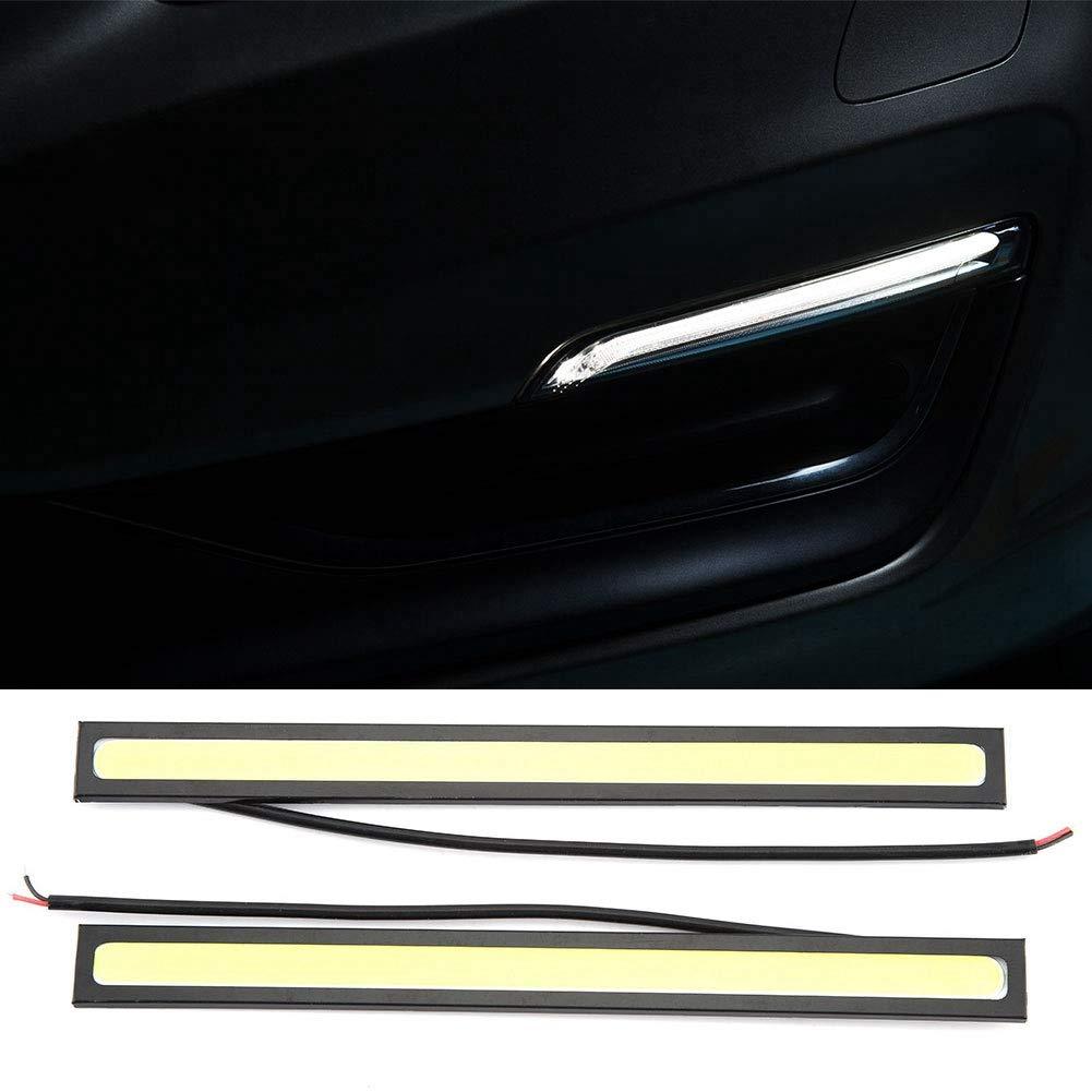 Qii lu Luz de circulaci/ón diurna blanco DC 9V-16V 2Pcs Universal COB LED de conducci/ón diurna LED para coche Luz de niebla Luz de cabeza de se/ñal de giro