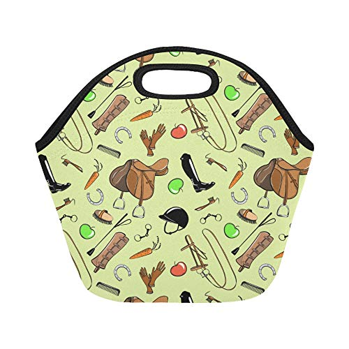 - Insulated Neoprene Lunch Bag Riding Equipment Hand-painted Large Size Reusable Thermal Thick Lunch Tote Bags Lunch Boxes For Outdoor Work Office School