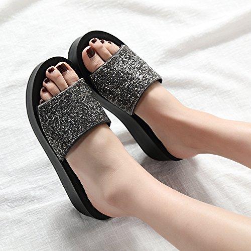 Btrada Mujeres Platform Sandalias-antideslizante Cuñas De Suela Gruesa Zapatos Plata