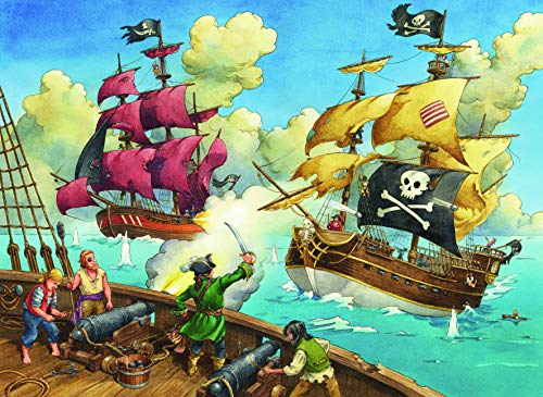 Pirate Ship Jigsaw - Ravensburger Pirate Battle 100 Piece Jigsaw Puzzle for Kids - Every Piece is Unique, Pieces Fit Together Perfectly