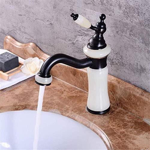Stylish Bathroom Sink bar Faucet Villa Style 360° Rotating Jade wash Basin Faucet Brass Toilet Faucet