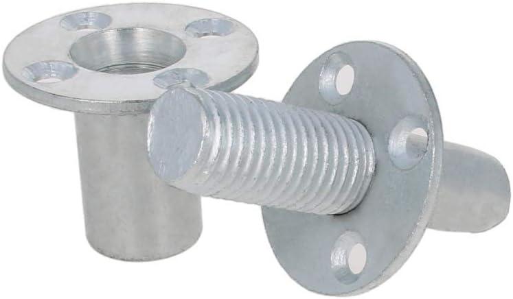 LFDHSF Small Kit 1//4 9.2mm 15pcs Flat Head Cap nut Brad Hole Tee Nut Carbon Steel Round Base Screw-in T-Nut