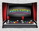 Ambesonne Video Games Wall Hanging Tapestry, Arcade Machine Retro Gaming Fun Joystick Buttons Vintage 80's 90's Electronic, Bedroom Living Room Dorm Decor, 60 W X 40 L Inches, Multicolor