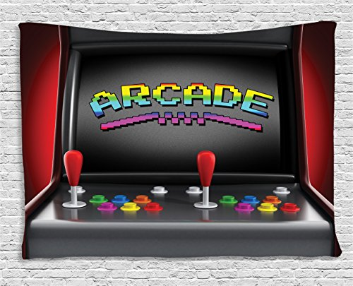 Ambesonne Video Games Tapestry, Arcade Machine Retro Gaming Fun Joystick Buttons Vintage 80