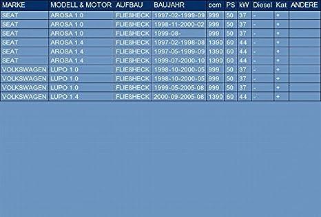 pour AROSA 1.0 1.4 HATCHBACK 50//60hp 1997-2000 // LUPO 1.0 1.4 HATCHBACK 50//60hp 1998-2005 ETS-EXHAUST 51739 Silencioso Intermedio el kit de montaje completo