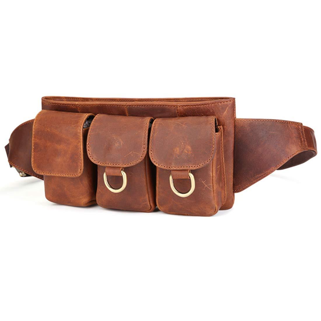 MAGAI Ledergürteltasche -  Herren Hüftgürteltasche - Multifunktionstasche mit Hüfttasche für Herren - Mehrere Taschen & robuste Reißverschlüsse Ideal zum Wandern beim Radfahren (Farbe : Braun)