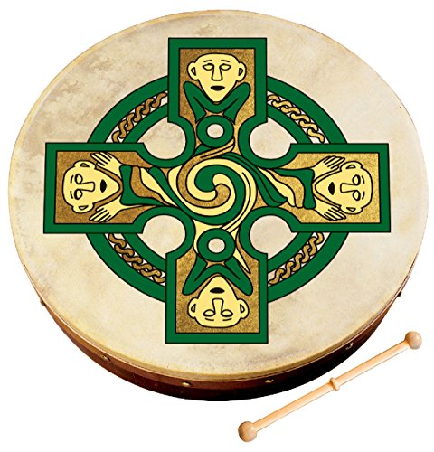 Waltons Bodhrán 12'' (Gallen Cross) - Handcrafted Irish Instrument - Crisp & Musical Tone - Hardwood Beater Included w/ Purchase Perfect for St Patrick's Day by Waltons