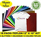 "18 Pack +BONUS Teflon Easy Weed Heat Transfer Vinyl Sheets Bundle 12""x10""-1 HOLOGRAM+3 GLITTERS+14 Colors HTV - T-Shirts, DIY Crafts, Silhouette Cameo, Cricut Vinyl, Heat Press Machine, Iron On"