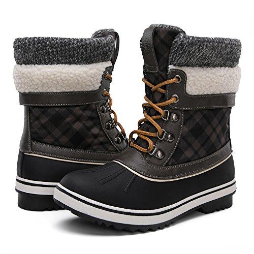 GLOBALWIN Women's Winter Snow Boots (9.5 D(M) US Women's, Black/Grey)